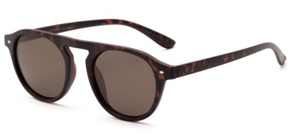 Angle of Bimini #5905 in Matte Tortoise Frame with Brown Lenses, Women's and Men's Round Sunglasses