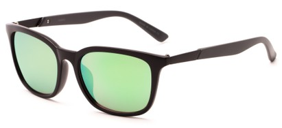 Angle of Trinidad #9511 in Matte Black/Grey Frame with Yellow Mirrored Lenses, Women's and Men's Retro Square Sunglasses