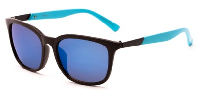 Angle of Trinidad #9511 in Matte Brown/Blue Frame with Blue Mirrored Lenses, Women's and Men's Retro Square Sunglasses