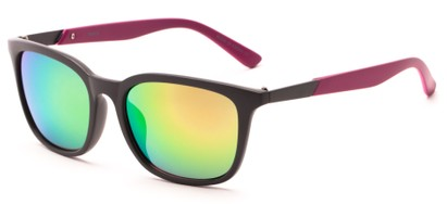 Angle of Trinidad #9511 in Matte Grey/Pink Frame with Rainbow Mirrored Lenses, Women's and Men's Retro Square Sunglasses