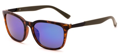 Angle of Trinidad #9511 in Matte Tortoise/Green Frame with Purple Mirrored Lenses, Women's and Men's Retro Square Sunglasses