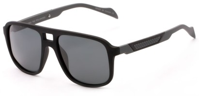 Angle of Warren #5454 in Black/Grey Frame with Grey Lenses, Men's Aviator Sunglasses