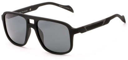 Angle of Warren #5454 in Black Frame with Grey Lenses, Men's Aviator Sunglasses