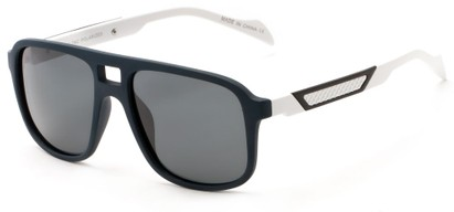 Angle of Warren #5454 in Navy/White Frame with Grey Lenses, Men's Aviator Sunglasses