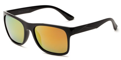 Angle of Melbourne #4963 in Black Frame with Orange Mirrored Lenses, Women's and Men's Square Sunglasses