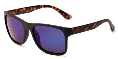 Angle of Melbourne #4963 in Black/Tortoise Frame with Blue Lenses, Women's and Men's Square Sunglasses