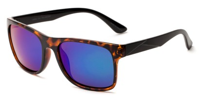 Angle of Melbourne #4963 in Tortoise/Black Frame with Purple/Green Mirrored Lenses, Women's and Men's Square Sunglasses
