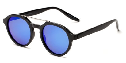 Angle of Auckland #5976 in Black/Silver Frame with Blue Mirrored Lenses, Women's and Men's Round Sunglasses
