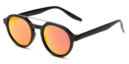 Angle of Auckland #5976 in Black/Silver Frame with Orange Mirrored Lenses, Women's and Men's Round Sunglasses