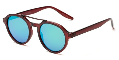 Angle of Auckland #5976 in Brown/Bronze Frame with Green Mirrored Lenses, Women's and Men's Round Sunglasses