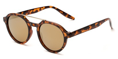 Angle of Auckland #5976 in Tortoise/Gold Frame with Gold Mirrored Lenses, Women's and Men's Round Sunglasses