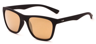 Angle of Cobalt #5977 in Matte Black Frame with Gold Mirrored Lenses, Women's Retro Square Sunglasses