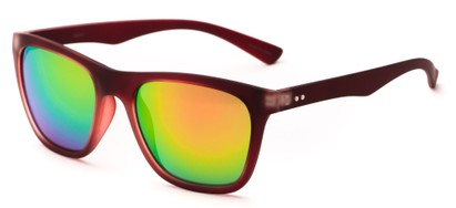 Angle of Cobalt #5977 in Matte Red Frame with Rainbow Mirrored Lenses, Women's Retro Square Sunglasses