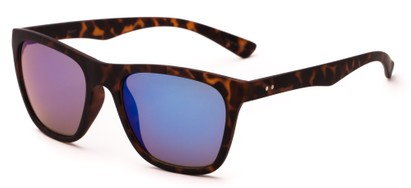 Angle of Cobalt #5977 in Matte Brown Tortoise Frame with Blue Mirrored Lenses, Women's Retro Square Sunglasses