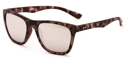 Angle of Cobalt #5977 in Matte Grey Tortoise Frame with Silver Mirrored Lenses, Women's Retro Square Sunglasses