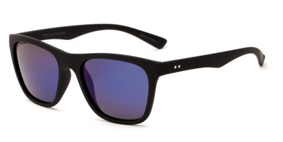 Angle of Dash #5098 in Matte Black Frame with Blue Mirrored Lenses, Women's and Men's Retro Square Sunglasses