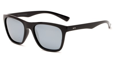 Angle of Dash #5098 in Glossy Black Frame with Silver Mirrored Lenses, Women's and Men's Retro Square Sunglasses