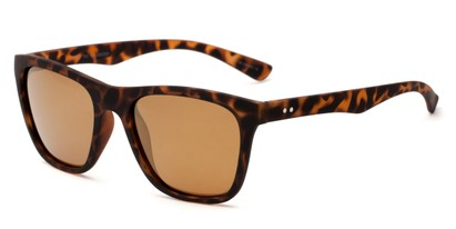 Angle of Dash #5098 in Matte Tortoise Frame with Amber Mirrored Lenses, Women's and Men's Retro Square Sunglasses