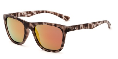 Angle of Dash #5098 in Matte Grey Tortoise Frame with Red/Orange Lenses, Women's and Men's Retro Square Sunglasses