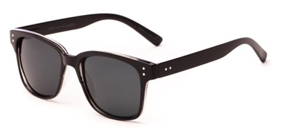 Angle of Diesel #5979 in Black Frame with Grey Lenses, Women's and Men's Retro Square Sunglasses