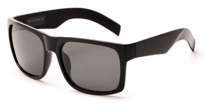 Angle of Range #4098 in Glossy Black Frame with Grey Lenses, Men's Square Sunglasses