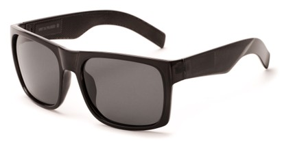 Angle of Range #4098 in Glossy Grey Frame with Grey Lenses, Men's Square Sunglasses