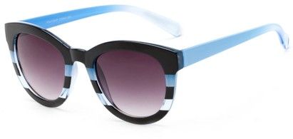 Angle of Ruby #5441 in Black and Blue Stripe Frame with Smoke Lenses, Women's Round Sunglasses