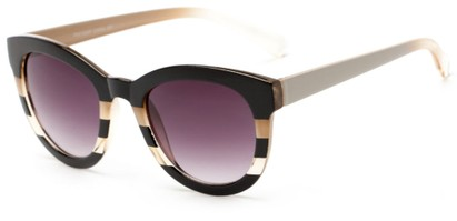 Angle of Ruby #5441 in Black and Tan Stripe Frame with Smoke Lenses, Women's Round Sunglasses