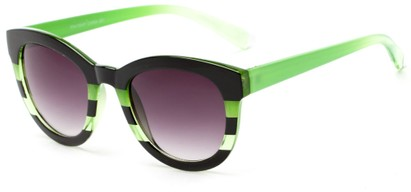 Angle of Ruby #5441 in Black and Green Stripe Frame with Smoke Lenses, Women's Round Sunglasses