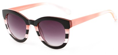 Angle of Ruby #5441 in Black and Pink Stripe Frame with Smoke Lenses, Women's Round Sunglasses