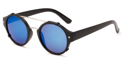 Angle of Fiji #5437 in Matte Black/Silver Frame with Blue Mirrored Lenses, Women's and Men's Round Sunglasses