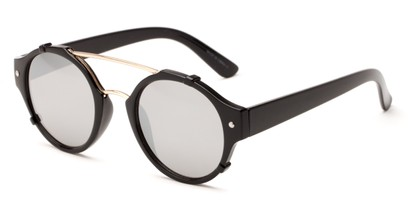 Angle of Fiji #5437 in Glossy Black/Gold Frame with Silver Mirrored Lenses, Women's and Men's Round Sunglasses