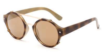 Angle of Fiji #5437 in Yellow Tortoise/Gold Frame with Amber Mirrored Lenses, Women's and Men's Round Sunglasses