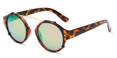 Angle of Fiji #5437 in Tortoise/ Gold Frame with Green Mirrored Lenses, Women's and Men's Round Sunglasses