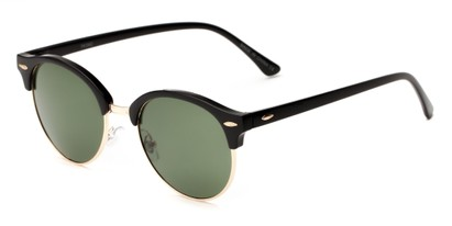 Angle of Throwback #5102 in Glossy Black/Gold Frame with Green Lenses, Women's and Men's Round Sunglasses