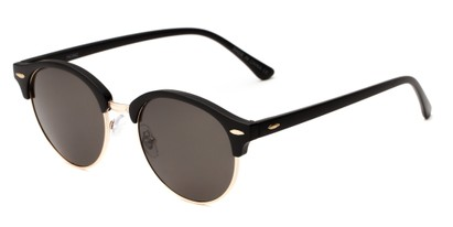 Angle of Throwback #5102 in Matte Black/Gold Frame with Smoke Lenses, Women's and Men's Round Sunglasses