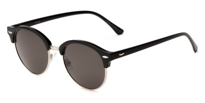 Angle of Throwback #5102 in Glossy Black/Silver Frame with Smoke Lenses, Women's and Men's Round Sunglasses