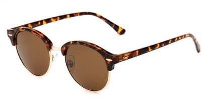 Angle of Throwback #5102 in Tortoise/Gold Frame with Amber Lenses, Women's and Men's Round Sunglasses