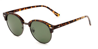 Angle of Throwback #5102 in Tortoise/Grey Frame with Green Lenses, Women's and Men's Round Sunglasses