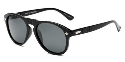 Angle of Burton #54107 in Black Frame with Grey Lenses, Women's and Men's Round Sunglasses