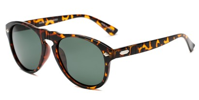 Angle of Burton #54107 in Tortoise Frame with Green Lenses, Women's and Men's Round Sunglasses