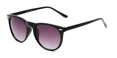 Angle of Beale #5426 in Black Frame with Smoke Lenses, Women's and Men's Round Sunglasses