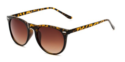 Angle of Beale #5426 in Tortoise Frame with Amber Lenses, Women's and Men's Round Sunglasses