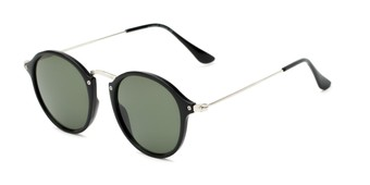 Angle of Grafton #5428 in Black/Silver Frame with Green Lenses, Women's and Men's Round Sunglasses