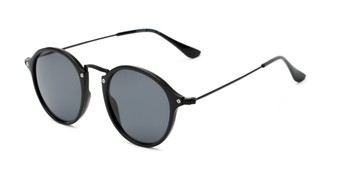 Angle of Grafton #5428 in Black Frame with Grey Lenses, Women's and Men's Round Sunglasses