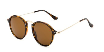 Angle of Grafton #5428 in Tortoise/Gold Frame with Amber Lenses, Women's and Men's Round Sunglasses