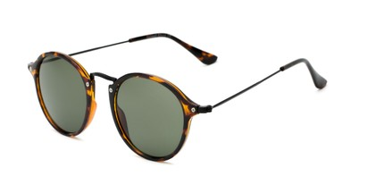 Angle of Grafton #5428 in Tortoise/Black Frame with Green Lenses, Women's and Men's Round Sunglasses