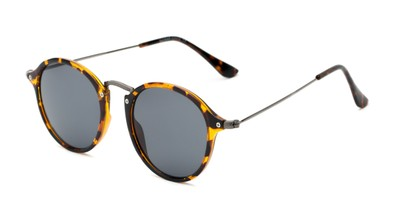Angle of Grafton #5428 in Tortoise/Grey Frame with Grey Lenses, Women's and Men's Round Sunglasses