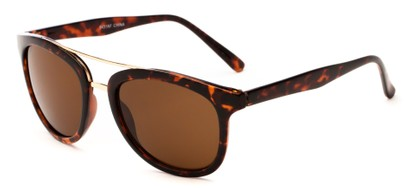Angle of Luminary #5431 in Dark Brown Tortoise/Gold with Amber Lenses, Women's and Men's Retro Square Sunglasses