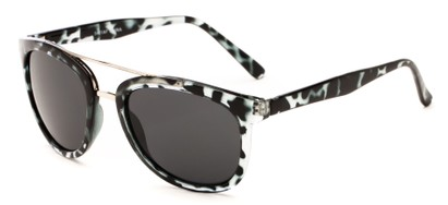 Angle of Luminary #5431 in Grey Tortoise/Silver Frame with Grey Lenses, Women's and Men's Retro Square Sunglasses